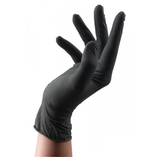 BLACK LATEX GANTS JETABLES 100 PCS LARGE - (263) - 2018/2019