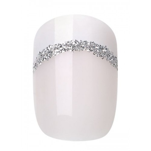 INSTANT PINK FRENCH WITH SILVER NAIL 24PCS + GLUE - 459 - 20